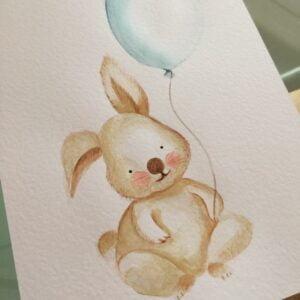 aguarela-a4-coelho-balao-rosa-azul-tutu-illustration