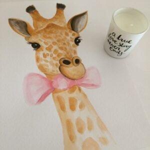 girafa-laço-rosa-tutu-illustration-aguarela-a4