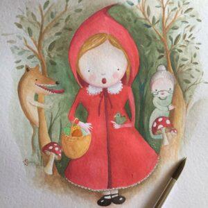 aguarela-a4-capuchinho-vermelho-tutu-illustration