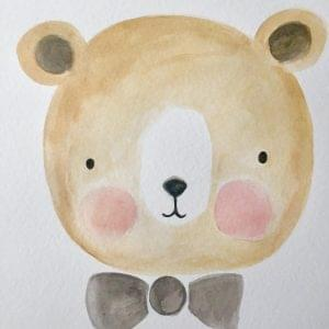 aguarela-a3-urso-laço-cinza-tutu-illustration
