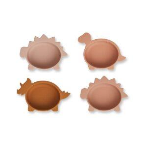 conjunto-de-4-taças-silicone-dino-rose-liewood