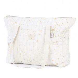 Paris-maternity-bag-gold-stella-natural-mala-maternidade-natural-estrelas-douradas-nobodinoz