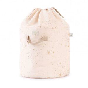 bamboo-toy-bag-gold-stella-dream-pink-arrumação-brinquedos-rosa-estrelas-douradas-nobodinoz