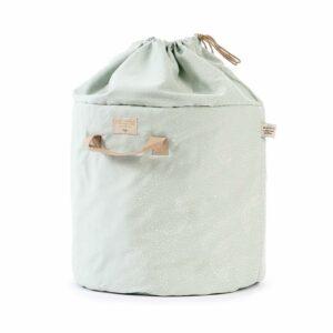 bamboo-toy-bag-white-bubble-aqua-nobodinoz-saco-brinquedos-verde-bolha-branca