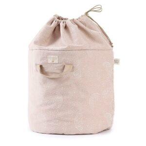 bamboo-toy-bag-white-bubble-misty-pink-nobodinoz-saco-brinquedos-rosa-bolha-branca