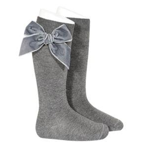 condor-meias com laço-cor cinza