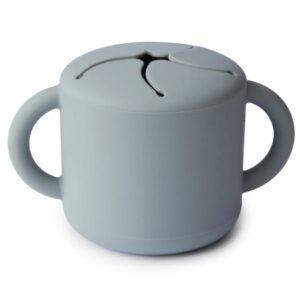 copo de silicone para lanche-cor cinza-mushie
